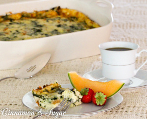 Cheese and Spinach Strata is a delicious breakfast or brunch casserole that is assembled a day ahead of time freeing you up to enjoy your family and guests.