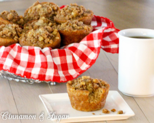 Banana Nut Muffins are full of flavor, super moist and topped with a crunchy, heart-healthy walnut streusel. A great choice for breakfast or snacks.