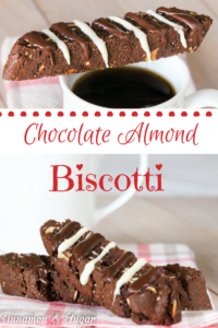 Chocolate Almond Biscotti has the delectable combination of chocolate with added crunch of almonds while the drizzle of chocolate is pure bliss. It's ideal for gift giving and stores well in an airtight container. Or keep for yourself and enjoy with a cup of coffee or tea on a chilly morning!