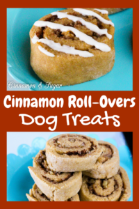 Cinnamon Roll-Overs Dog Treats are whole grain dog treats that are sweetened with a bit of honey and cinnamon then rolled up with finely chopped walnuts or pecans. Your dog will do lots of roll-overs to show you how much they love these yummy treats!