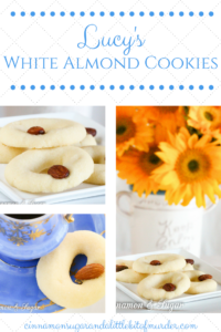 Lucy's White Almond Cookies uses only four simple ingredients plus whole almonds for garnishing to create a melt-in-your-mouth shortbread-style delectable treat!