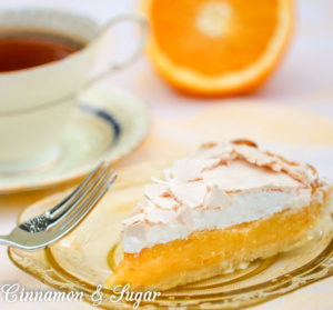 Seville Meringue Pie has an orange custard filling that is amazing flavorful and I would be happy to eat it as pudding on its own. However, when paired with the buttery, flaky crust and topped by sweet meringue that's crunchy on the outside and fluffy on the inside, this dessert is fit for royalty!