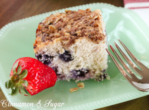 Triple Berry Coffee Cake is a tender cake that's chock-full of juicy, ripe berries. The addition of warm spices and a crumbly topping provides added flavor!