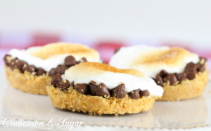S'more Tartlets use graham cracker crumbs pressed into a mini muffin tin, topped with chocolate candy & marshmallows creating a twist on this summer campfire treat!