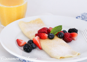 With components that quickly mix up using a blender, Moorehaven's Mouthwatering Blintzes includes a sweet cheese filling and a fresh berry sauce.