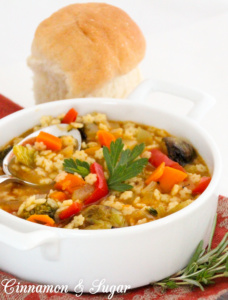 Fall Soup with Charred Vegetables is a hearty dish brimming with a large variety of healthy vegetables and star-shaped pasta!