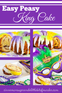 Canned cinnamon rolls layered into a bundt pan and then slathered with a brown sugar & cinnamon mixture before baking creates Easy-Peasy King (Bundt) Cake, a Mardi Gras tradition!