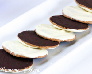Penn's Moon Benne Wafer Cookies are crispy wafter-thin sesame seed-based cookies dipped in white chocolate and the opposite side in dark chocolate.