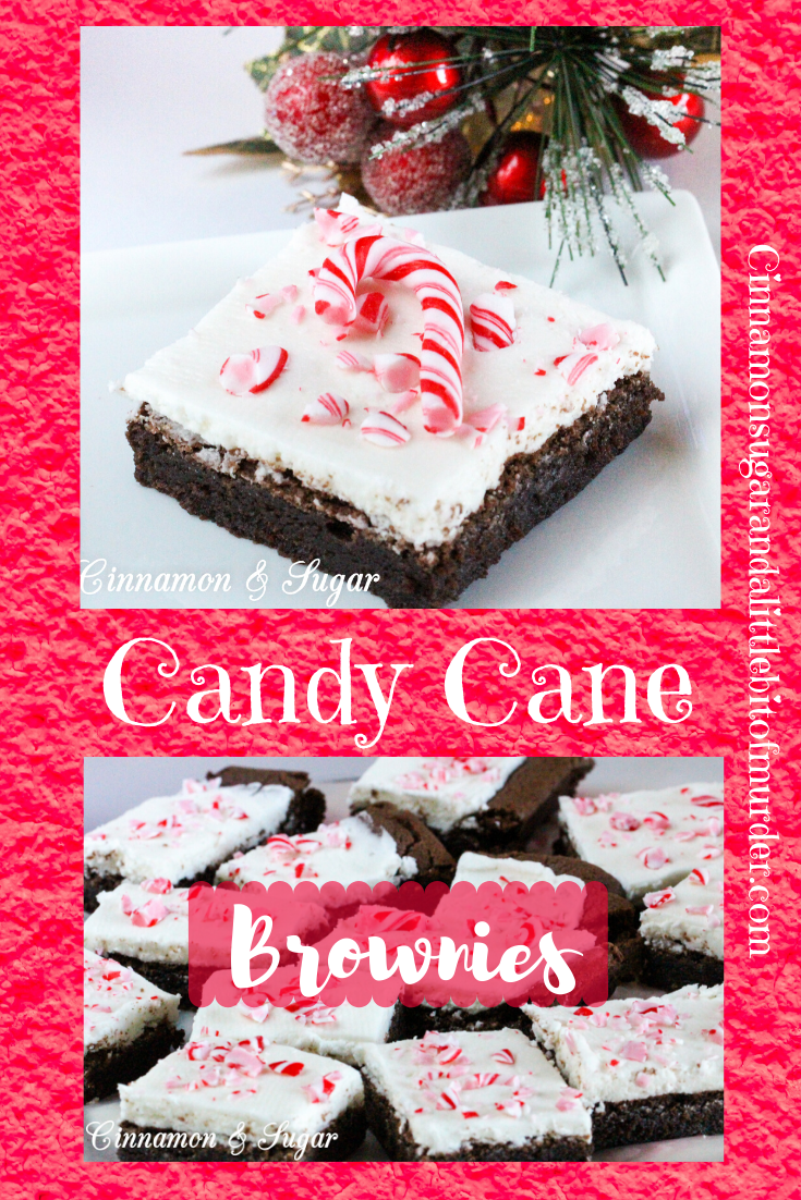 Candy Cane Brownies combine the yummy flavors of chocolate and peppermint while the added crunch of crushed candy canes sprinkled on top of the frosted brownies adds a festive touch. Recipe shared with permission granted by Catherine Bruns, author of GINGER SNAPPED TO DEATH.