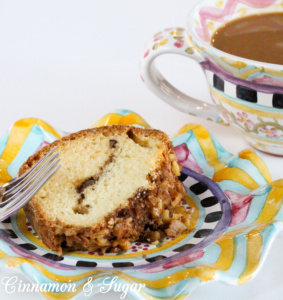 Ma's Sour Cream Coffee Cake combines cinnamon for flavor, walnuts for a nice textural crunch, while the sour cream adds tang and moistness. Recipe was handed down from the grandmother of Barbara Ross, author of cozy mystery STEAMED OPEN.