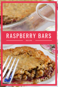 Crunchy brown sugar crust is layered with simple raspberries and topped with a gooey-chewy nut and coconut layer to make Raspberry Bars a satisfying treat! Recipe shared with permission granted by Ellie Alexander, author of cozy mystery LIVE AND LET PIE.