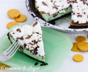 Gertie's Saint Patrick's Cheesecake has a creamy, slightly minty filling that perfectly complements the chocolate crust & captures the spirit of the holiday!