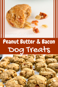 Peanut Butter and Bacon Homemade Dog Treats are whole-grain bites that are full of flavor thanks to a generous amount of peanut butter and bits of bacon. Recipe from Liz Mugavero, author of MURDER SHE MEOWED.