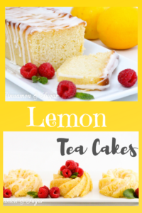 Lemon Tea Cakes have layers of bright, sunny flavor thanks to plenty of lemon juice and zest used in the sweet quick bread batter, glaze, and frosting. Recipe shared with permission granted by Daryl Wood Gerber, author of SIFTING THOUGH CLUES.