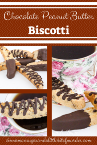 Chocolate Peanut Butter Biscotti is a twice baked cookie that is made to dip in your favorite beverage. Dredged in chocolate makes this Italian cookie impossible to resist. Recipe shared from A SECRET IN THYME by Maureen Klovers.