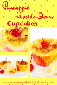 A rich, buttery pineapple cake topped with a caramelized pineapple ring and maraschino cherry make Pineapple Upside-Down Cupcakes perfect for hot summer months! Recipe shared with permission granted by Jenn McKinlay, author of DYING FOR DEVIL'S FOOD.
