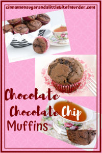 Chocolate Chocolate Chip Muffins combines dark cocoa, whole wheat flour and a generous amount of mini chocolate chips for a delectable breakfast treat! Recipe shared with permission granted by Maddie Day, author of STRANGLED EGGS AND HAM.