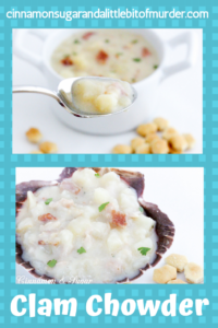 New England Clam Chowder is rich without relying on heavy cream and full of the briny flavor of clams and smoky bacon, but isn't difficult or time consuming to make. Recipe from DRAWN AND BUTTERED by Shari Randall.