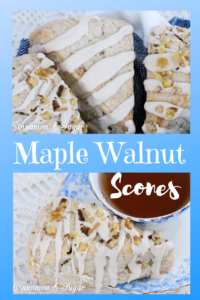 Maple Walnut Scones are ultra-rich and flaky while walnuts and maple glaze adds extra layers of flavors and textures making these a family favorite. Recipe from Karen MacInerney, author of SCONE COLD DEAD.