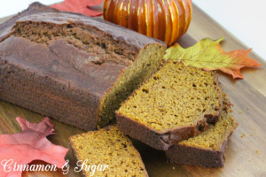 Tender and moist without using a lot of vegetable oil, this pumpkin bread is full of warm spices and whole wheat flour that enhance the pumpkin. Recipe shared with permission granted by Barbara Ross, author of HAUNTED HOUSE MURDER.