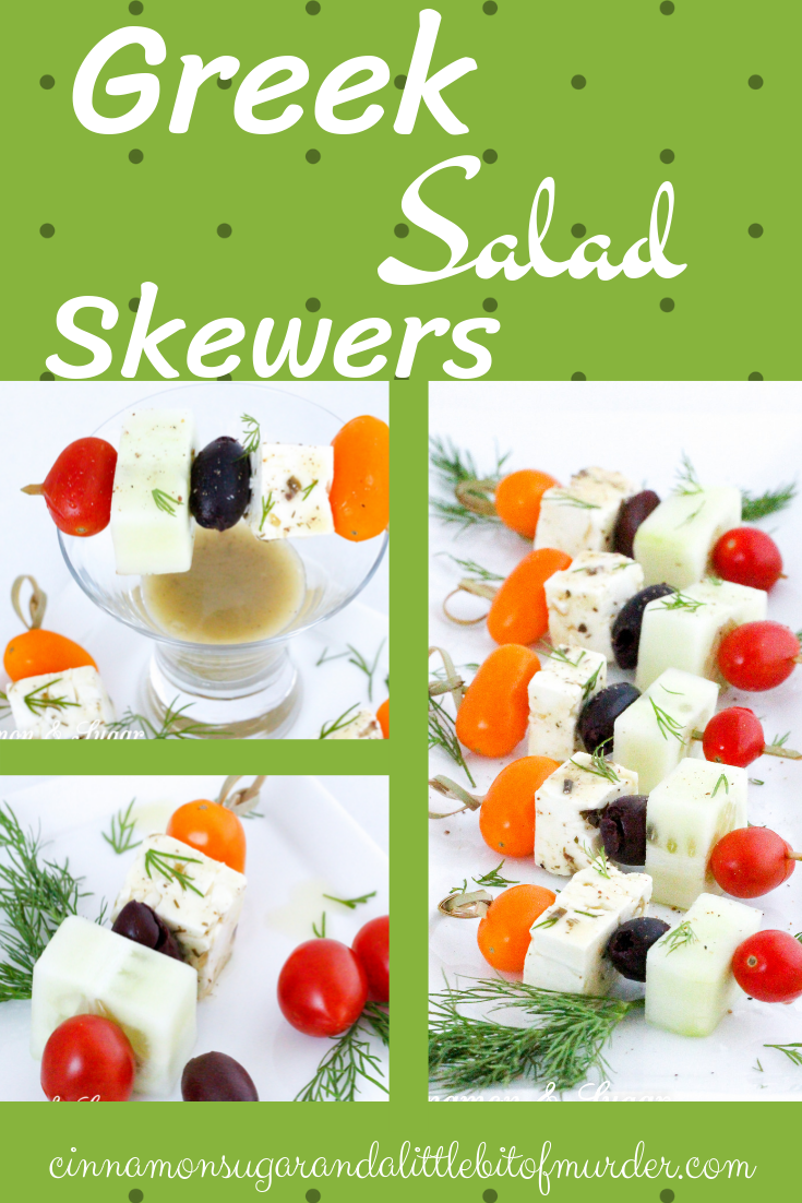 Light and refreshing, Greek Salad Skewers are mini appetizers that are quick to make and provide a fun, healthy way to satisfy pre-dinner appetites. Recipe shared with permission granted by Jenn McKinlay, author of WORD TO THE WISE.