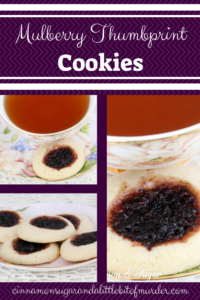 Mulberry Thumbprint Cookies are a shortbread-style cookie with a dollop of mulberry jam providing a beautiful dark purple jewel in the middle of the baked cookie. Recipe shared with permission granted by Sharon Farrow, author of MULBERRY MISCHIEF.