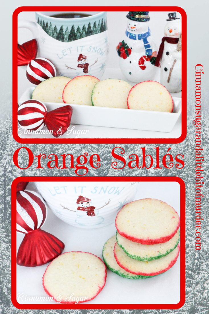 Originating in France, Orange Sablés are a shortbread-style cookie with a buttery, melt-in-your mouth texture. With the addition of colored sanding sugar, these refreshing orange cookies are perfect for any holiday.