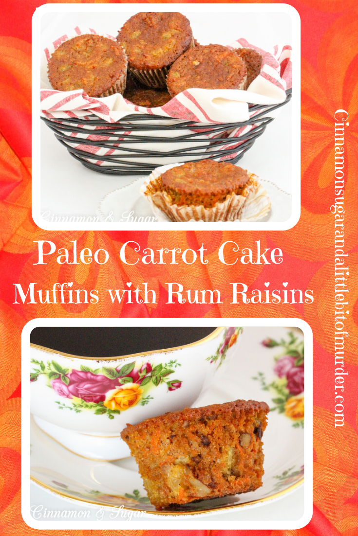 Paleo Carrot Cake Muffins with Rum Raisins are chock-full of flavor and moistness thanks to rum-infused golden raisins, a generous portion of carrots, with warming spices and honey. Recipe shared with permission granted by Libby Klein, author of THEATER NIGHTS ARE MURDER.