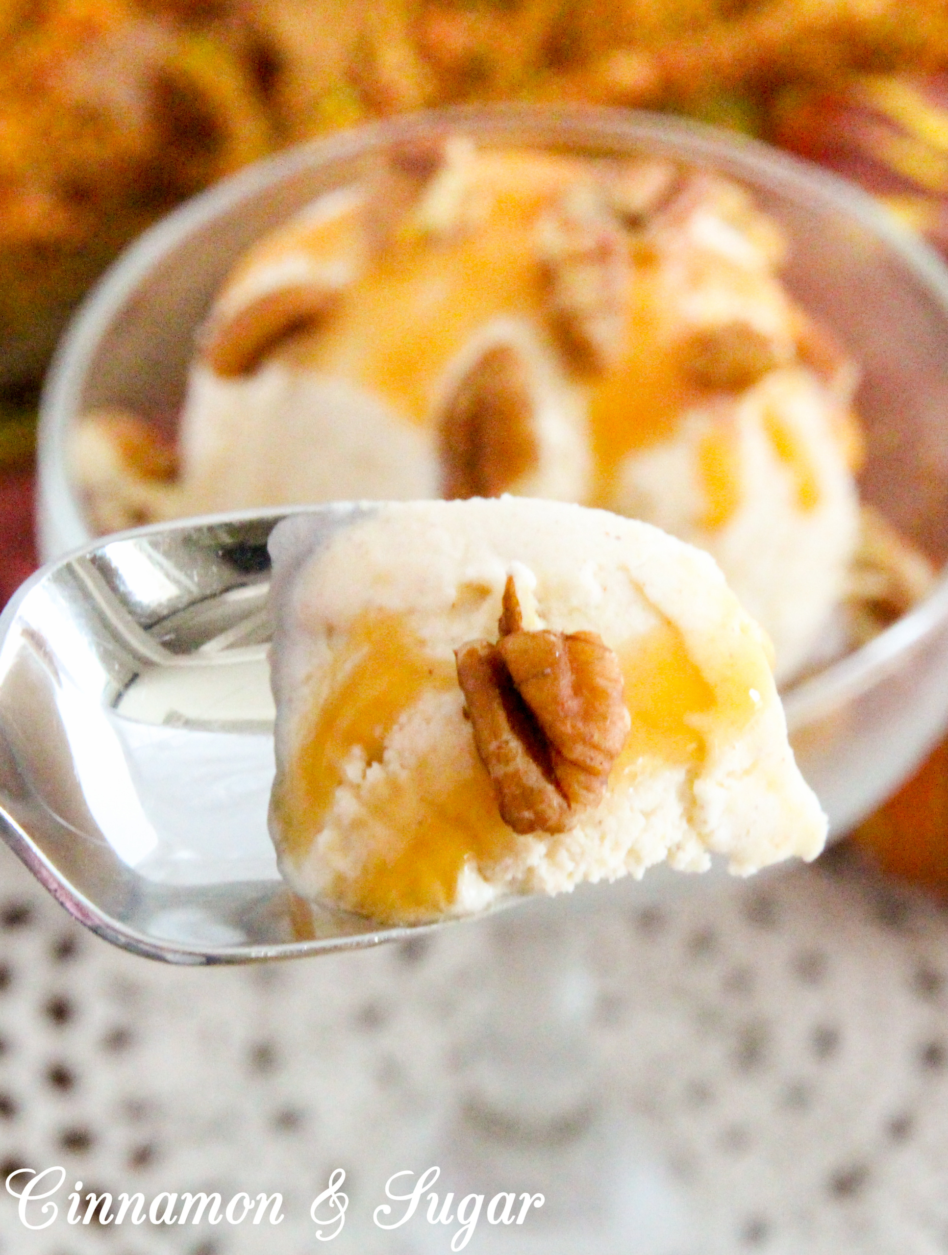 Chagrin Falls Pumpkin Spice Ice Cream is luscious and creamy! This frozen concoction has the perfect balance of pumpkin and spices so that one doesn't overwhelm the other. Recipe shared with permission granted by Abby Collette, author of A DEADLY INSIDE SCOOP.