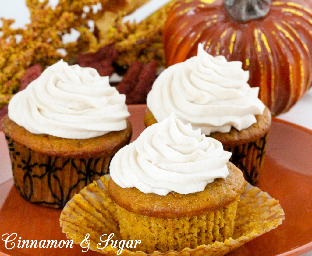 With warm spices of cinnamon, ginger, and nutmeg, Pumpkin Spice cupcakes are moist and could be eaten as a breakfast muffin. But piled high with Cinnamon Cream Cheese Frosting, these delectable treats are worthy of any celebration! Recipe shared with permission granted by Jenn McKinlay, author of PUMPKIN SPICE PERIL.