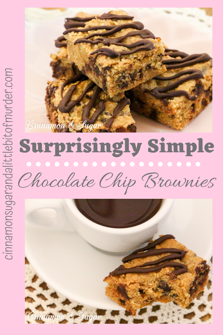 Penn's Surprisingly Simple Chocolate Chip Brownies uses only THREE pantry staple ingredients, yet the results create a delicous, chocolatey treat! Recipe shared with permission granted by Dorothy St. James, author of BONBON WITH THE WIND.