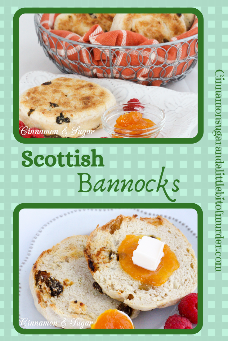 This simplified and version of Scottish Bannocks uses a cast iron skillet to get a nicely browned exterior yet the interior retains a biscuit-y texture. Recipe shared with permission granted by Paige Shelton, author of THE STOLEN LETTER.