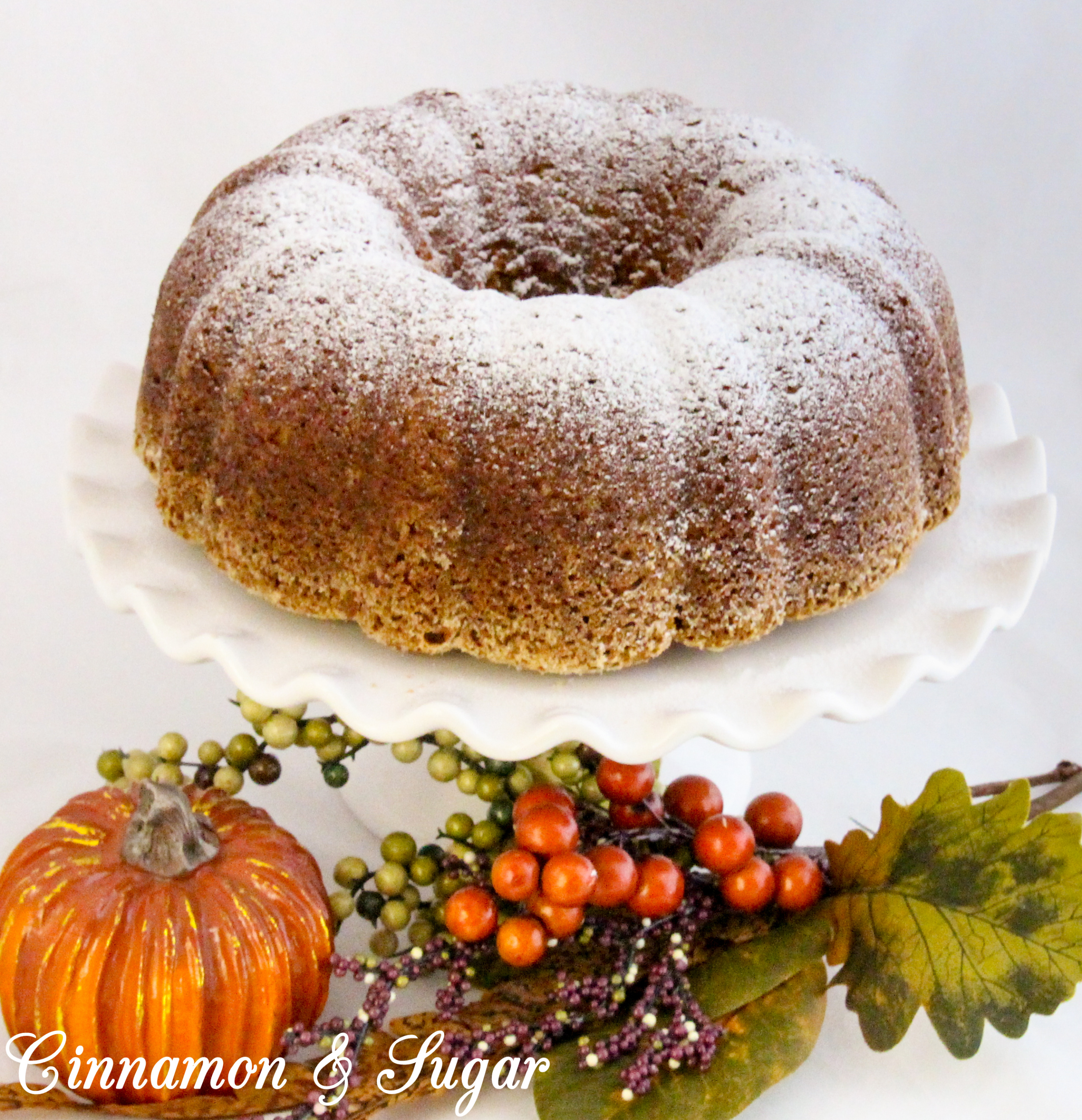 Grandma Peggy's Pumpkin Bundt Cake uses three cups of pumpkin which makes this cake super moist! The pumpkin flavor shines through and enhances the generous use of warm spices. Recipe shared with permission granted by Krista Davis, author of THE DIVA SPICES IT UP.
