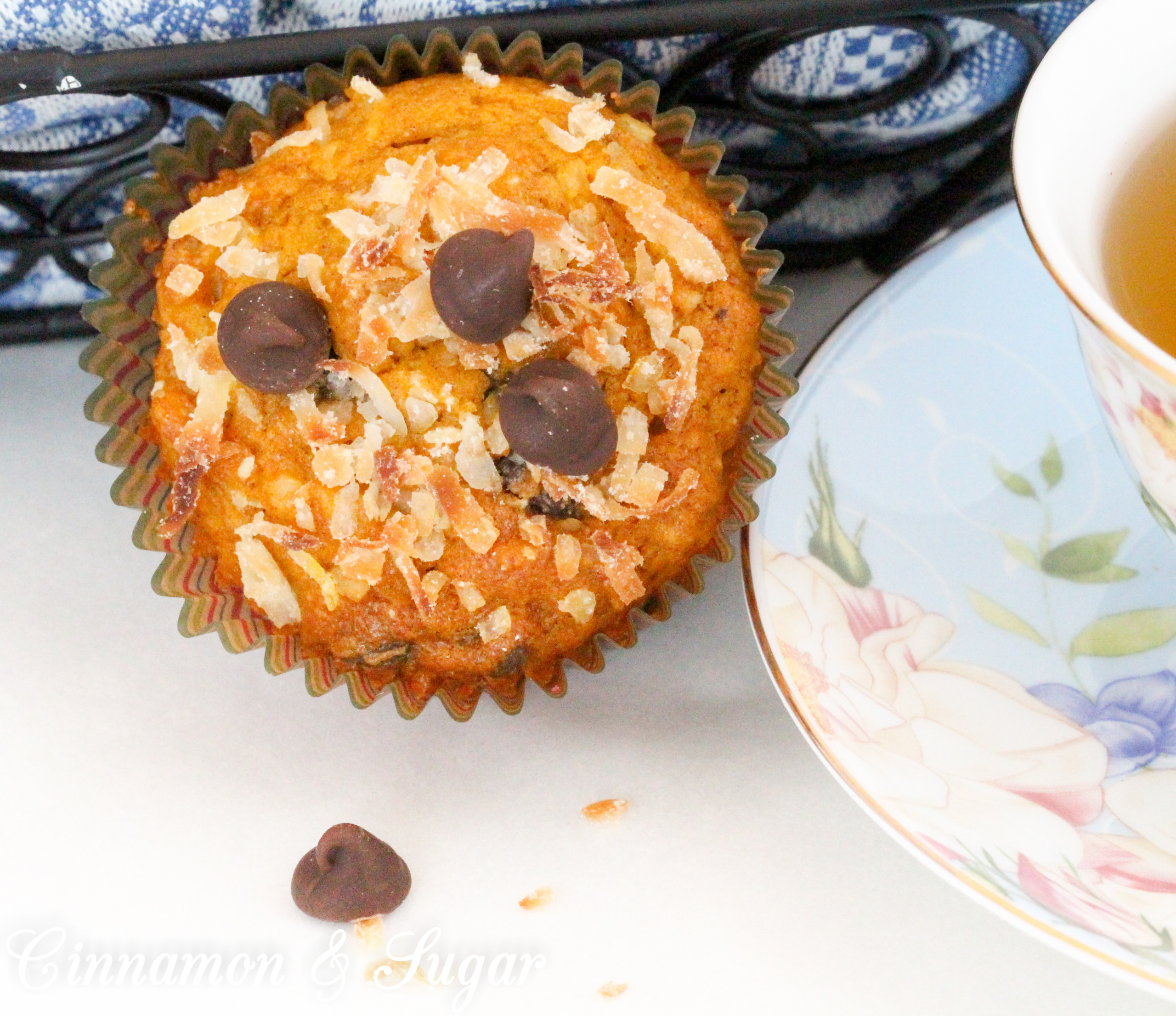 Pumpkin-Chocolate-Coconut Muffins uses pumpkin for moistness, chocolate for bittersweet sweetness and coconut for added sweet texture. Recipe shared with permission granted by Daryl Wood Gerber, author of SHREDDING THE EVIDENCE.