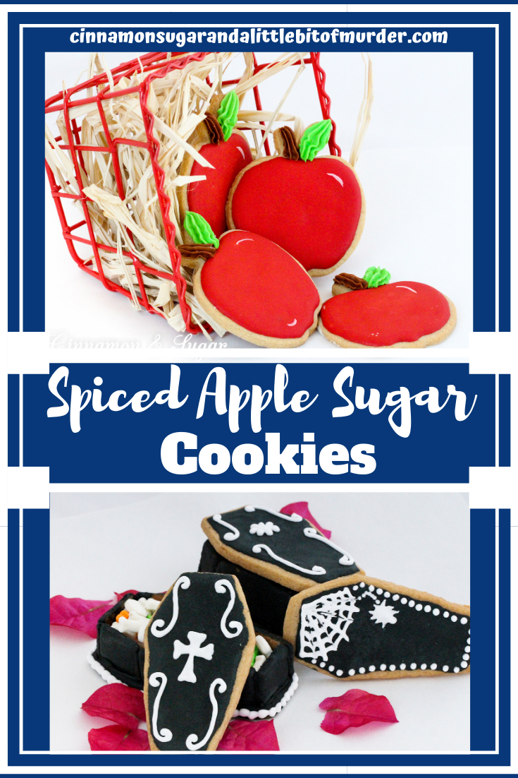 Spiced Apple Sugar Cookie recipe relies on packets of spiced apple cider mix to give it a unique taste and capture the flavor of autumn! Recipe created by Cinnamon & Sugar for Catherine Bruns, author of ICING ON THE CASKET.