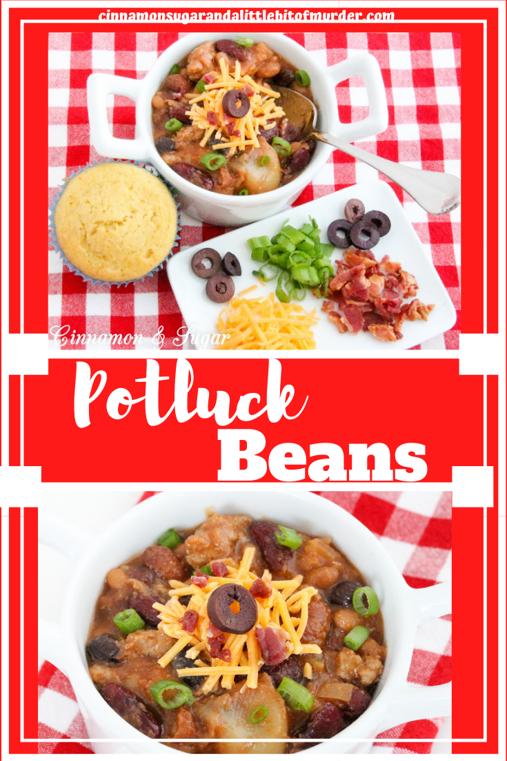 Using canned convenience products, the ease of making Potluck Beans belies the savory deliciousness of this dish, whether served as a side dish or an entrée. Recipe from cozy mystery Sprinkles of Suspicion by Kim Davis.