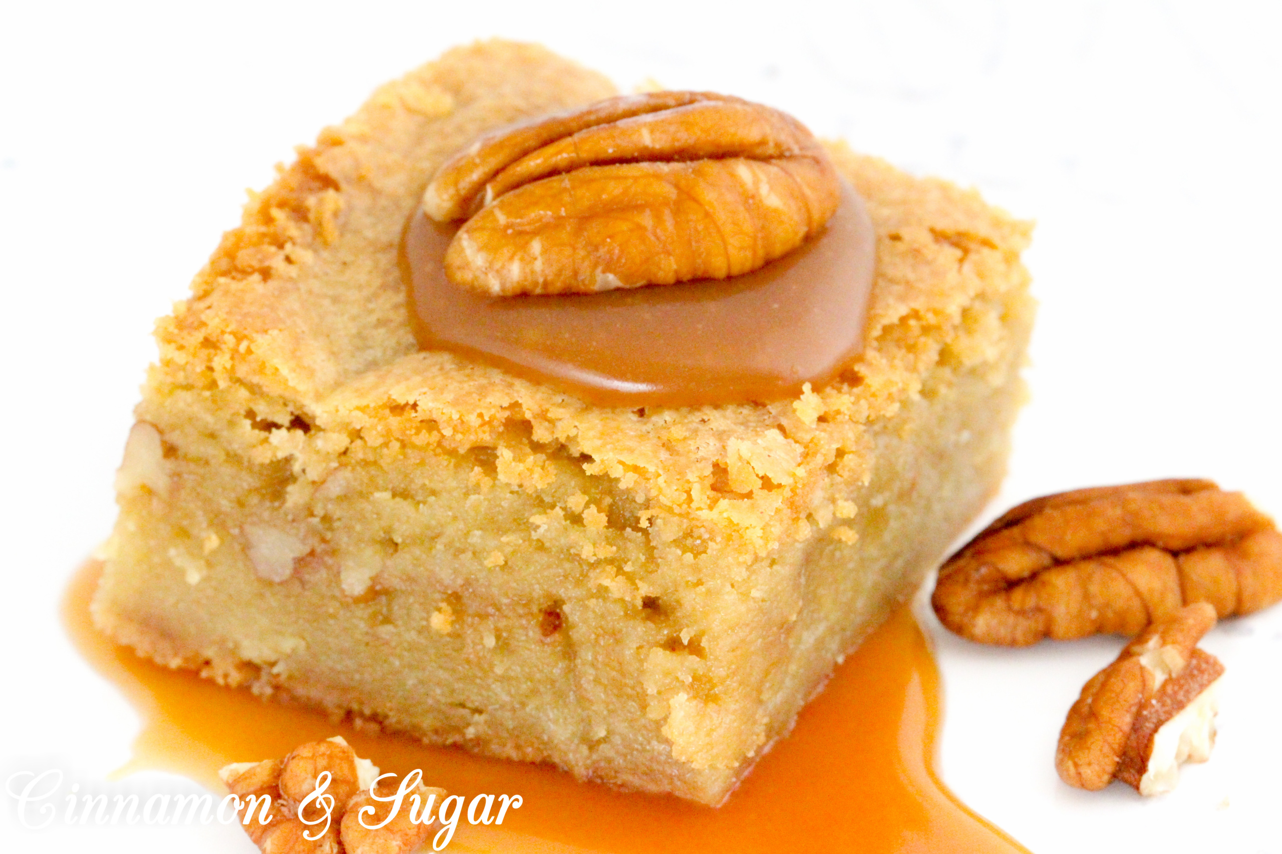 Caramel Blondies have a luscious layer of homemade salted caramel sauce and a generous sprinkle of chopped pecans between rich, buttery blondies. Recipe shared with permission granted by Daryl Wood Gerber, author of A SPRINKLING OF MURDER.
