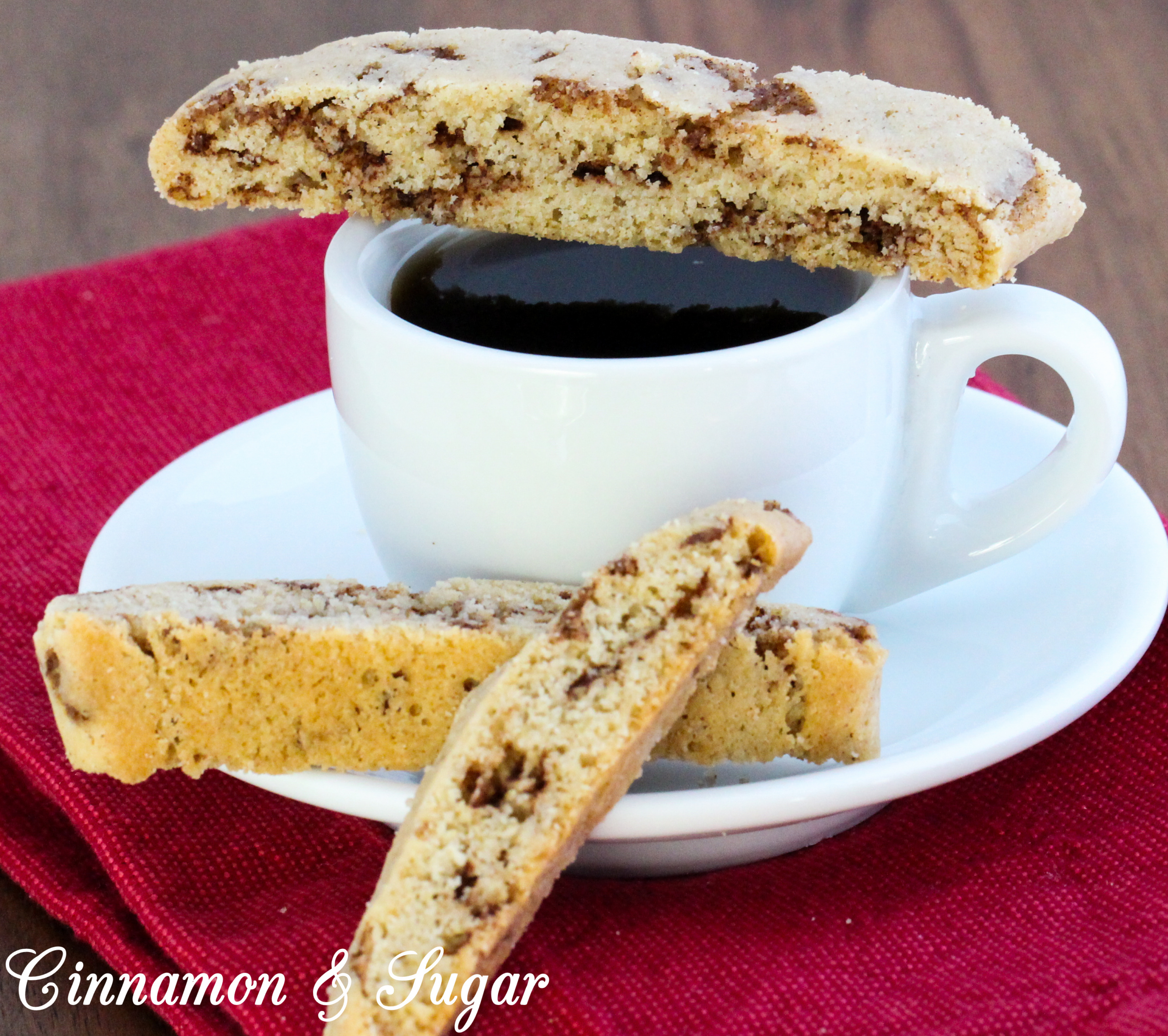 With generous amounts of ground cinnamon along with sweet-spicy bits of cinnamon chips that complemented a crunchy cookie base, Cinnamon Chip Biscotti are delicious cookies to share with family and friends. Recipe created by Cinnamon & Sugar for Catherine Bruns, author of IT CANNOLI BE MURDER.