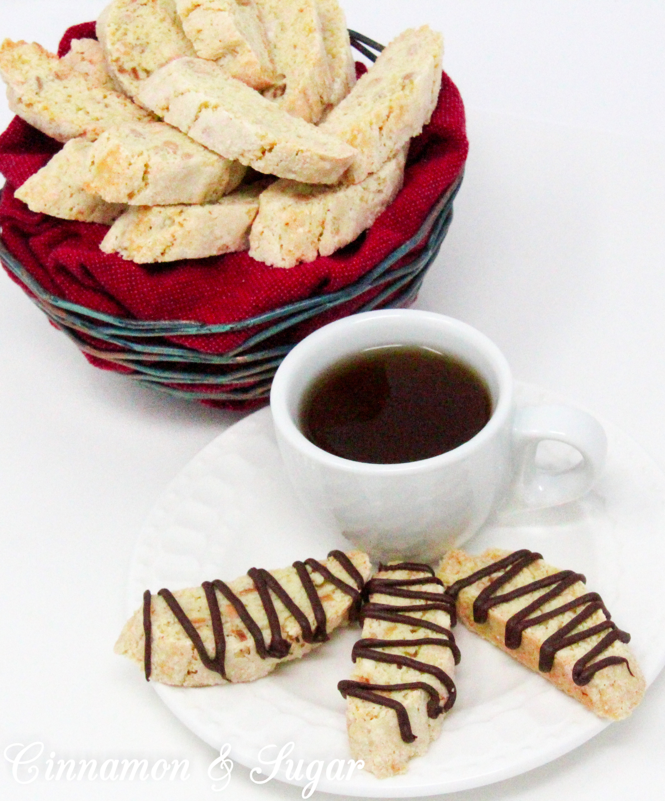 Crunchy, with a delicate almond flavor thanks to a generous amount of toasted almonds, these traditional Almond Biscotti don't contain any butter or oil. Perfect for dunking in your favorite hot beverage! Recipe shared with permission granted by Leslie Budewitz, author of THE SOLACE OF BAY LEAVES.