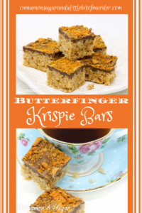 A delicious riff on Rice Krispie Treats, Butterfinger Krispie Bars combines the flavors of the iconic candy bar: chocolate, butterscotch, and peanut butter! Recipe created by Cinnamon & Sugar for Deborah Garner, author of cozy mystery, A FLAIR FOR GOBLINS.