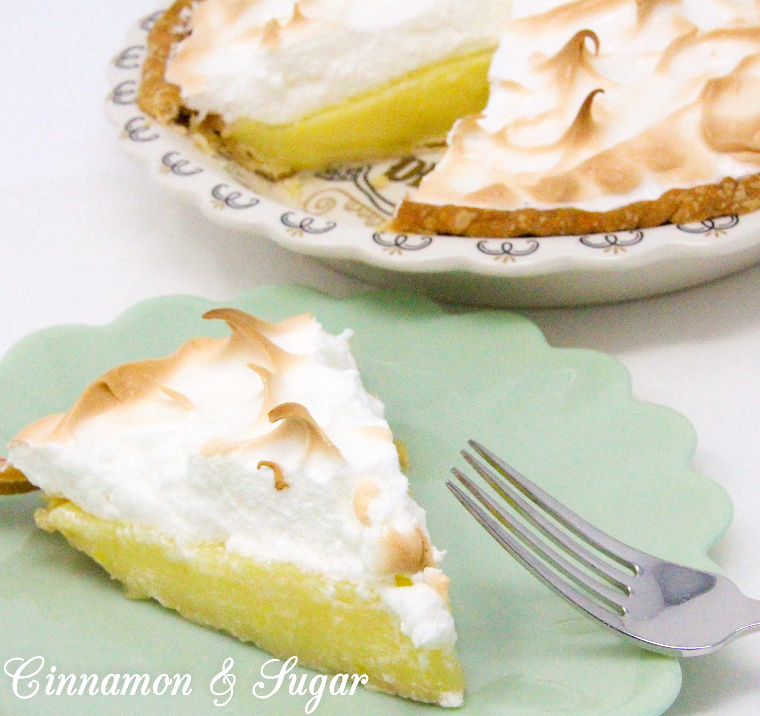 Lemony sweet-tart custard filling piled high with billowing cloud-like meringue, Susan Cutie's Lemon Meringue Pie is a refreshing dessert! Recipe shared with permission granted by Tina Kashian, author of MISTLETOE, MOUSSAKA, AND MURDER.