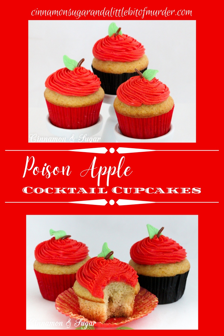 Poison Apple Cocktail Cupcakes, with generous amounts of boozy libations in both the batter and the frosting, are a fun and tasty addition to grownup Halloween celebrations. Recipe created by Kim Davis, author of CAKE POPPED OFF.