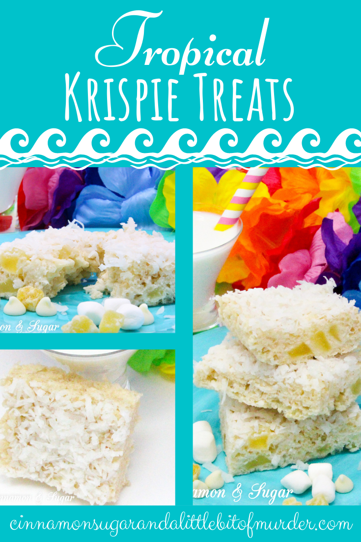 Tropical Krispie Treats are sweet and crunchy, with a hint of pineapple and rich coconut that will have you dreaming of a warm, beach-y getaway. Recipe shared with permission granted by Tara Lush, author of GROUNDS FOR MURDER.