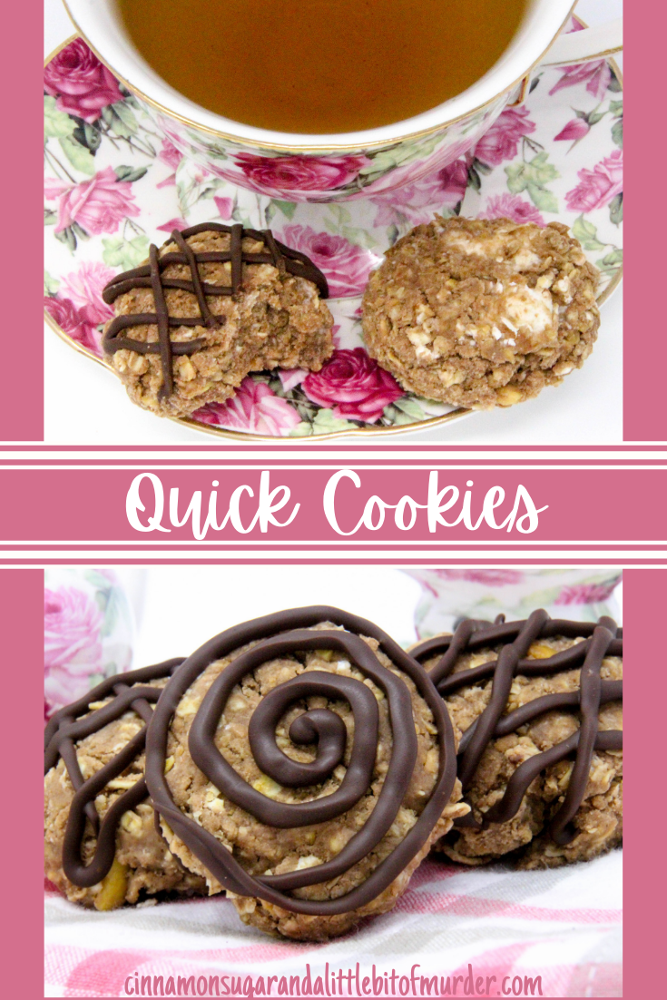 Quick Cookies combines the favorite flavors of chocolate and peanut butter in an easy-to-make, no-bake cookie. Sweet marshmallows and a drizzle of melted chocolate make these a great afternoon treat. This family recipe is shared with permission granted by Lynn Cahoon, author of KILLER COMFORT FOOD.