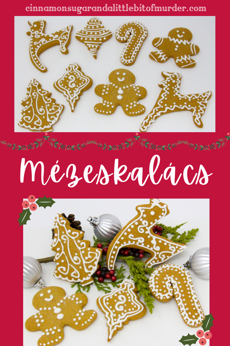 Juliana's Christmas Mézeskalács, are basically Hungarian honey soft gingerbread cutout cookies. Flavorful thanks to the addition of a generous amount of spices these festive cookies will make holiday cookie platters appear elegant and enticing! Recipe shared with permission granted by Julia Buckley, author of DEATH ON THE NIGHT OF LOST LIZARDS.