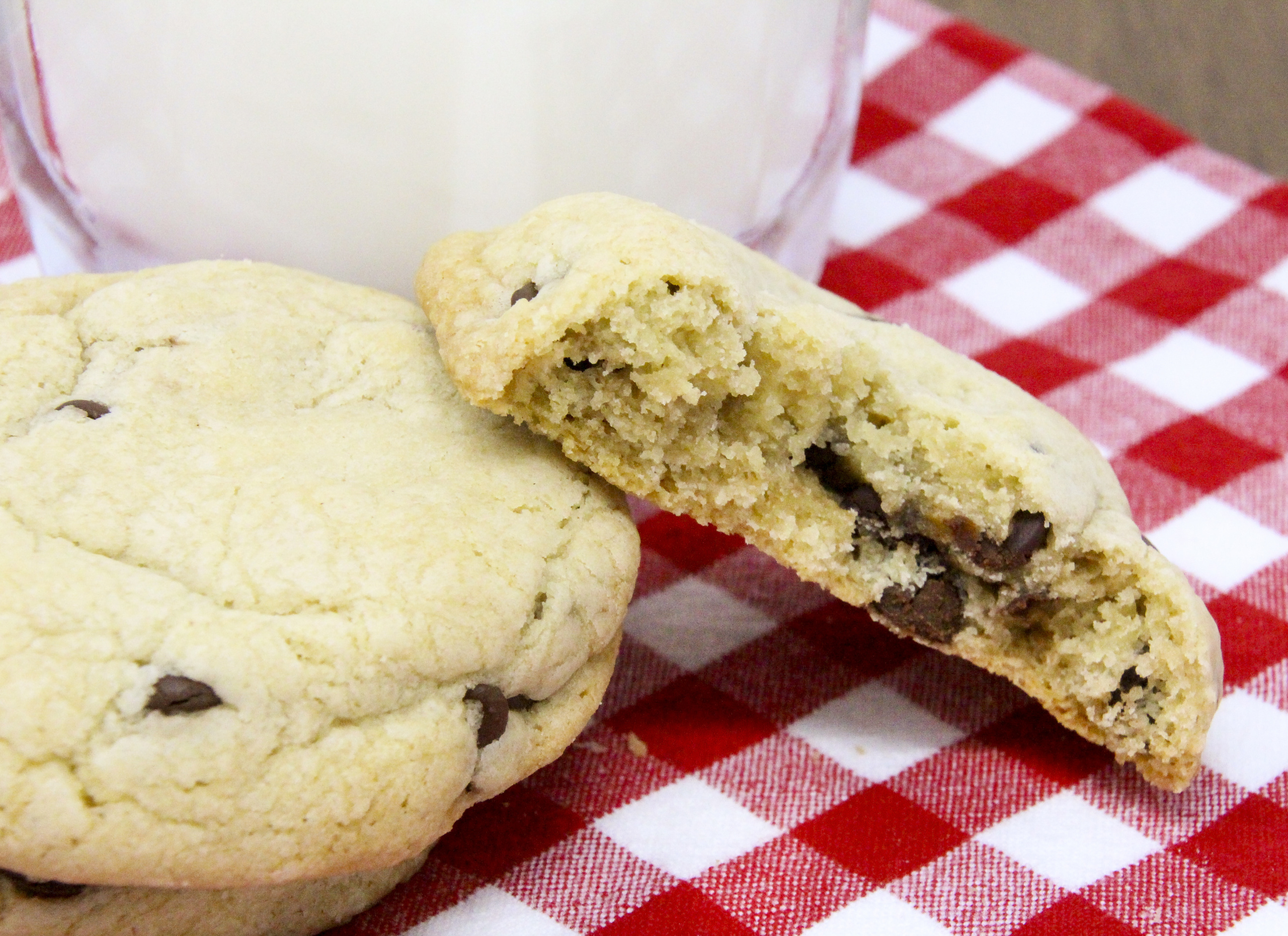 Vicki's Chocolate Chip Cookies are chockfull of just the right amount of chips and are soft and slightly cakelike… and leftovers stay soft! Recipe shared with permission granted by Vicki Delany, author of MURDER IN A TEACUP.