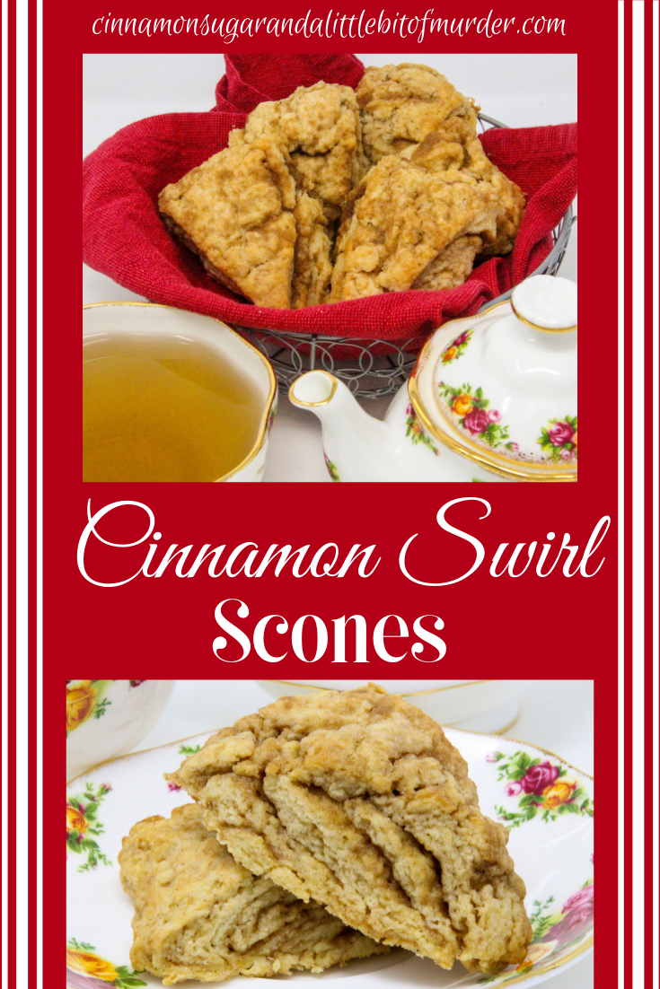 These melt-in-your-mouth flaky Cinnamon Swirl Scones are chock full of flavor thanks to a generous amount of cinnamon and brown sugar. Recipe shared with permission granted by Daryl Wood Gerber, author of A GLIMMER OF A CLUE.