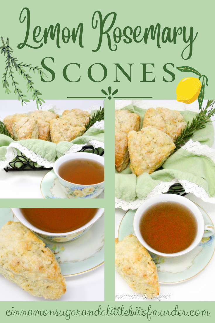 Flaky and rich, these scones contained just the right amount of rosemary while the lemon complemented and tempered the flavor. Recipe shared with permission granted by Maddie Day, author of NO GRATER CRIME.